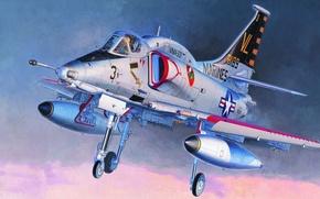 Картинка самолет, арт, художник, Douglas, Дуглас A-4 Скайхок, Koike Shigeo., A-4 Skyhawk, американский легкий палубный штурмовик, …