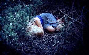 Картинка лес, девушка, отдых, сон