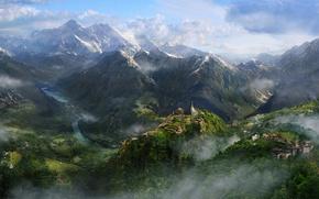 Картинка лес, небо, деревья, горы, ручей, far cry 4
