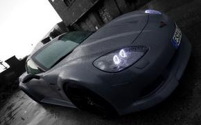 Картинка дождь, черно-белая, Auto, LOM Performance Corvette C6