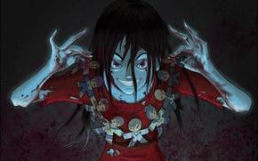 Картинка кровь, пятна, маньяк, game, ухмылка, псих, Corpse party, Вечеринка трупов, черная магия