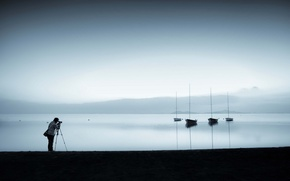 Картинка озеро, лодки, фотограф