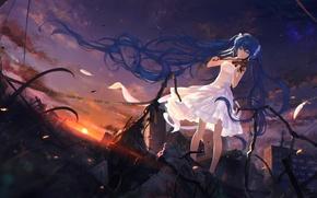 Обои небо, девушка, облака, закат, скрипка, аниме, арт, руины, vocaloid, hatsune miku, sombernight