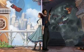 Обои Irrational Games, BioShock Infinite, Booker DeWitt, Elizabeth, 2K Australia, art