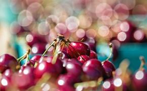 Обои макро, блики, еда, вишни, боке, черешни