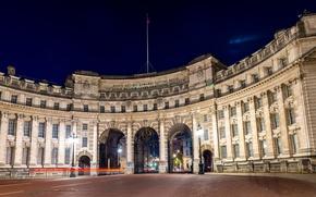 Картинка ночь, площадь, фонари, Великобритания, United Kingdom, Admiralty Arch