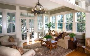 Картинка окна, гостиная, мебель, веранда, интерьер, комната, солнечно