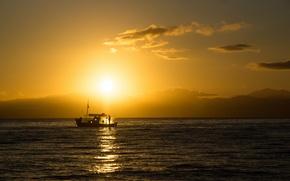 Картинка море, рассвет, лодка