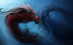Картинка вода, дракон, монстр, арт, рога