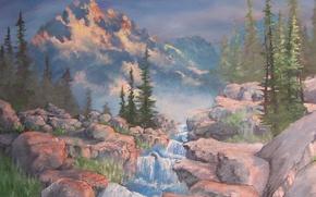 Картинка деревья, пейзаж, горы, природа, река, камни, поток, картина, холст