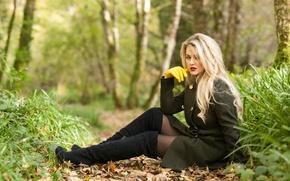 Картинка взгляд, природа, макияж, пальто, Melissa