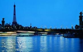 Картинка вода, мост, огни, эйфелева башня, париж, вечер, фонари, франция, ночной город, paris, france, синее небо
