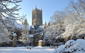 Картинка lincoln, snow, England, architecture, gothic cathedral