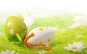 Картинка цветы, ленты, яйца, пасха, соломка