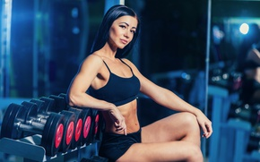 Обои dumbbells, fitness model, photography section, gym, sportswear, pose