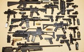 Обои пистолет-пулемет, MP-7, M-10, снайперская винтовка, M-92, MP-5, glock, Beretta, G36, awp, пистолет