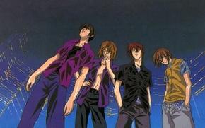 Картинка дождь, улица, небоскребы, рыжий, сигарета, рубашка, парни, друзья, art, omi tsukiyono, youji kudou, weiss kreuz, …