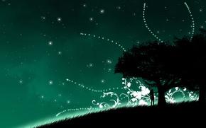 Обои девушка, зеленый, дерево, Вектор