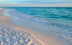 Картинка песок, море, пляж, небо, облака, пейзаж, отдых, обои, рай, отпуск, вечер