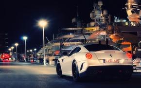 Картинка ночь, город, огни, пристань, яхты, Ferrari, Монако, Fiorano Spotting, 599 GTB