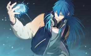 Картинка аниме, наушники, мозг, парень, синие волосы, DRAMAtical Murder