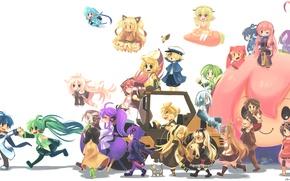 Обои девушки, аниме, арт, парни, vocaloid, hatsune miku, megurine luka, kagamine rin, kagamine len, bruno, oliver, ...