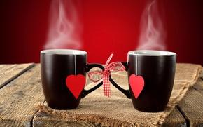 Картинка фон, пар, чашки, сердечки, бант, черные