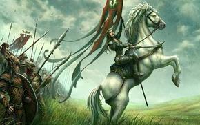 Картинка поле, конь, рисунок, всадница, фэнтези, эльфийка, kerem beyit, войско