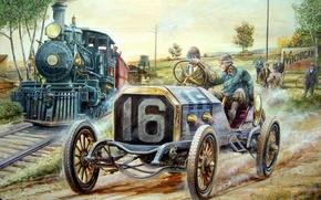 Картинка машина, ретро, люди, опасность, гонка, поезд, поровоз