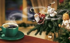 Обои елка, новый год, кофе, ангел, снеговик, дед мороз