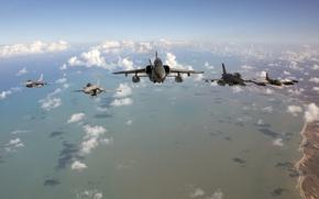 Картинка облака, океан, Fighting, F-16, Falcon, F-5E, береговая линия, A-37A Dragonfly Cessna, CRUZEX, Dassault Rafale 113, ...