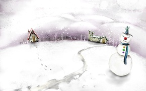 Обои рисунок, Зима, снеговик
