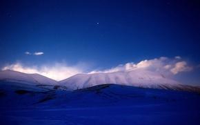 Обои небо, звезды, снег, звездное небо, Горы