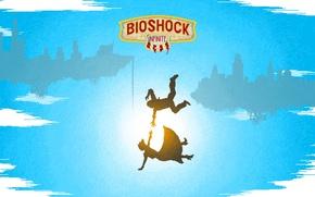 Картинка падение, Bioshock Infinite, 8 bit, 8 бит, falling