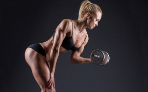 Картинка blonde, fitness, muscle toning, lighting effects, photography, workout, pose, dumbbells, sportswear, female, bodybuilding