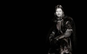 Обои Властелин колец, черный фон, The Lord of the Rings, Шон Бин, Sean Bean, Boromir