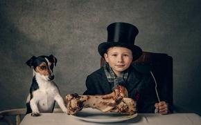 Обои The dinner, стол, обед, кость, собачка, парень
