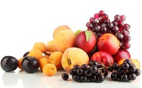 Картинка ягоды, виноград, фрукты, персики, сливы, абрикосы, нектарин