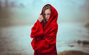 Картинка туман, боке, девушка в красном, Katy Sendza, Mystical