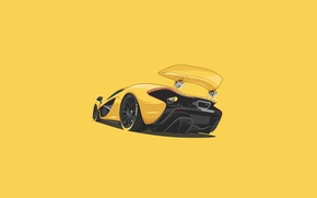 Обои McLaren, Yellow, Supercar, Rear, Minimalistic