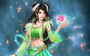 Картинка арт, украшения, искры, Perfect World, цветок, Jade Dynasty, лепестки, девушка, кувшинка