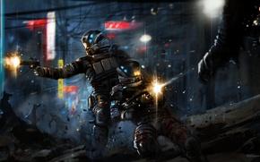 Картинка оружие, солдаты, Retribution, город, битва, броня, выстрелы, Blacklight