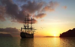 Обои корабль, вода, закат
