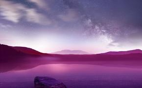 Картинка небо, облака, горы, озеро, камни, цвет
