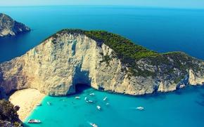 Картинка лето, высота, бухта, греция, закинф, навагио