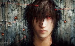 Обои лицо, арт, лазер, парень, красные глаза, прицел, final fantasy xv, tincek-marincek, noctis lucis caelum