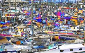 Картинка рендеринг, лодка, бухта, яхта, стоянка