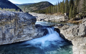 Картинка деревья, горы, камни, скалы, водопад, поток, Канада, Альберта, озера Кананаскис