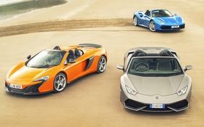Обои суперкары, ламборгини, Blue, Ferrari, макларен, песок, 488, grey, авто, McLaren, феррари, Lamborghini, след, Spyder, Spider, ...
