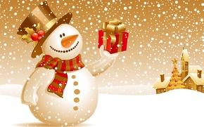 Картинка зима, снег, подарок, новый год, снеговик, christmas